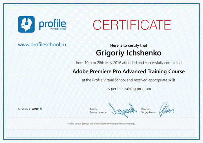 Certificate Premiere Pro - successfully completed Adobe Premiere Pro Advanced Training Course