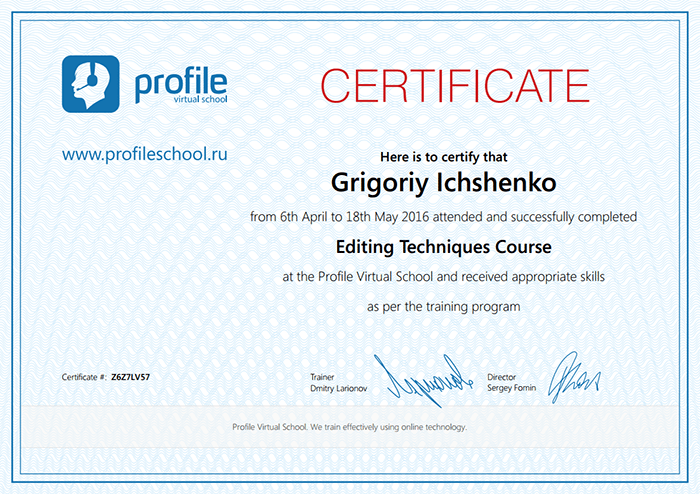 Certificate Video Editing - successfully completed Editing Techniques Course
